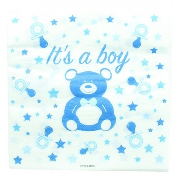 20 serviettes baby shower boy