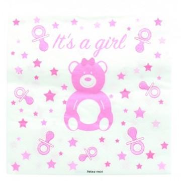 20 serviettes baby shower girl