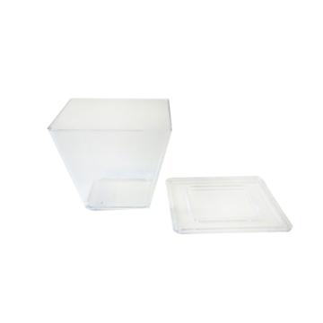 10 verrines en plastique rigide transparent avec couvercle