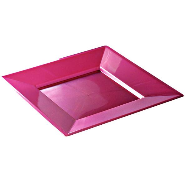 12 assiettes en plastique rigide carré pourpre étoile prestige 24 cm