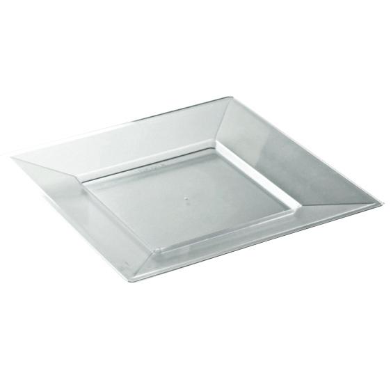 12 assiettes en plastique rigide carré cristal prestige 18 cm