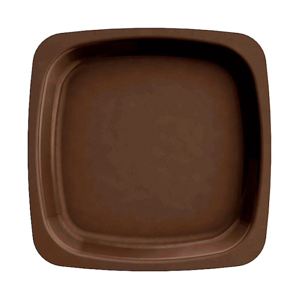 20 assiettes en plastique rigide carré marron 18 cm