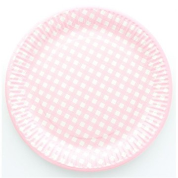 10 assiettes en carton vichy - rose