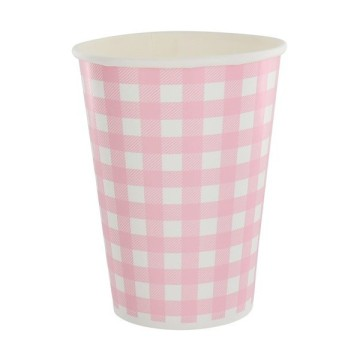 10 gobelets en carton vichy - rose