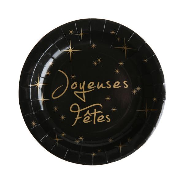 10 assiettes joyeuses fêtes en carton - noir