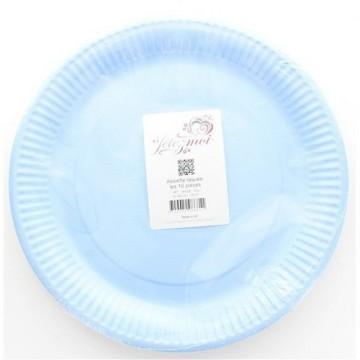 10 assiettes en carton laquée bleu - fetez-moi