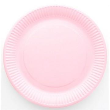 10 assiettes en carton laquée rose - fetez-moi