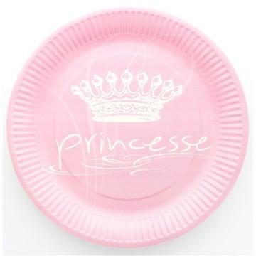 10 assiettes en carton princesse - rose