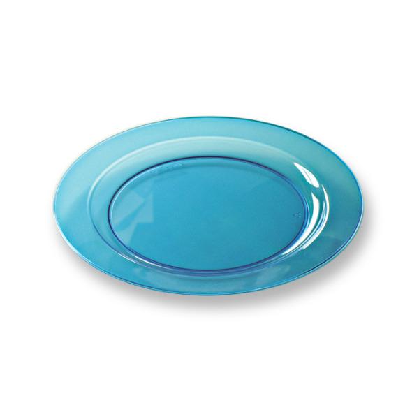 96 assiettes en plastique rigide ronde turquoise prestige 19 cm