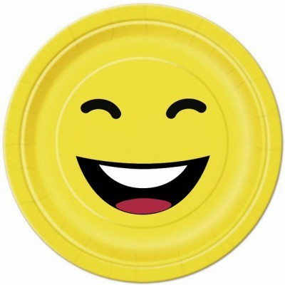 10 assiettes fun en carton jaune - 23 cm