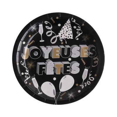 10 assiettes joyeuses fêtes en carton noir - 23 cm
