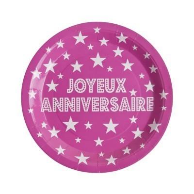 10 assiettes joyeux anniversaire en carton fuchsia - 23 cm