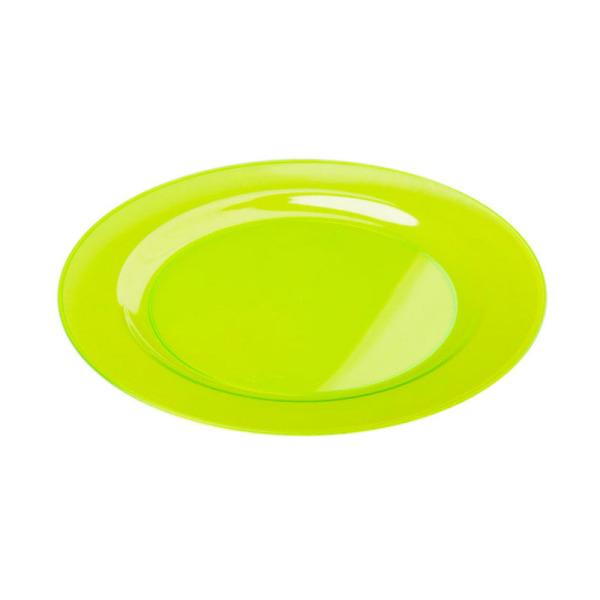 6 assiettes en plastique rigide ronde vert anis 23 cm