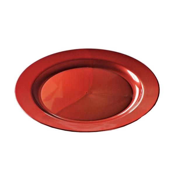 12 assiettes en plastique rigide ronde rouge carmin prestige 24 cm