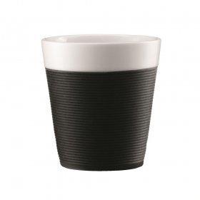 set de 2 mugs en porcelaine avec bande silicone 17cl - bistro bodum®