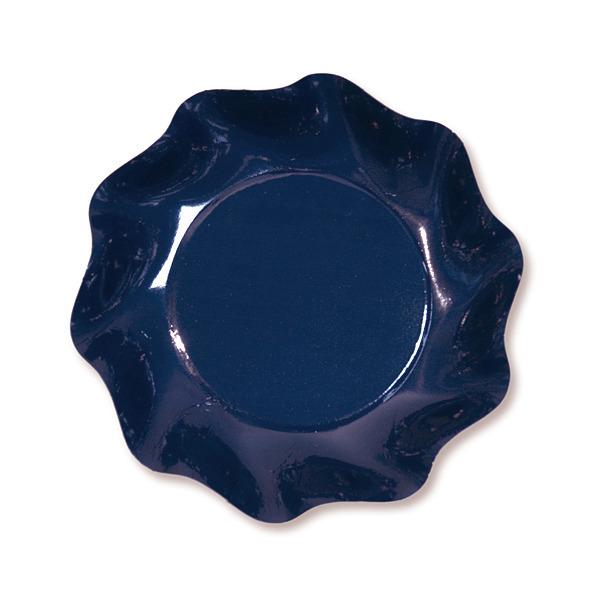 10 coupelles rondes en carton bleu foncé party line 18.5 cm