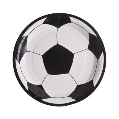 10 assiettes football en carton blanc - 23 cm