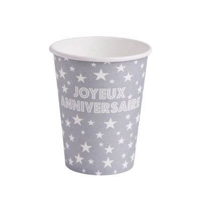10 gobelets joyeux anniversaire en carton gris 25 cl
