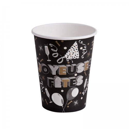 10 gobelets joyeuses fêtes en carton noir 25 cl