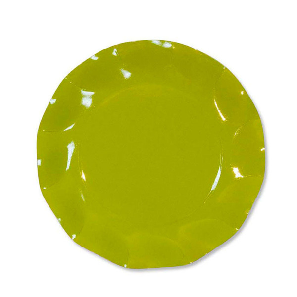 10 grandes assiettes rondes en carton vert citron party line 27 cm