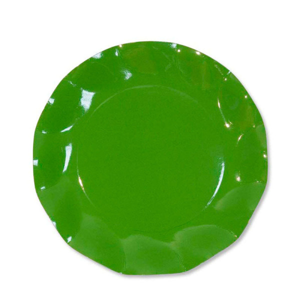 10 grandes assiettes rondes en carton vert pré party line 27 cm