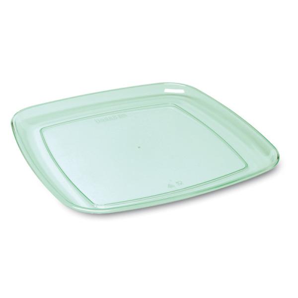 5 plateaux en plastique rigide carré vert d'eau 27 cm