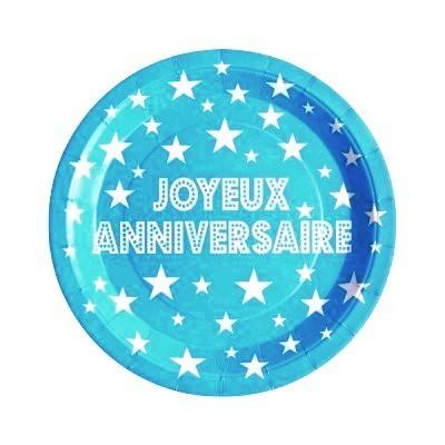 10 assiettes joyeux anniversaire en carton turquoise - 23 cm