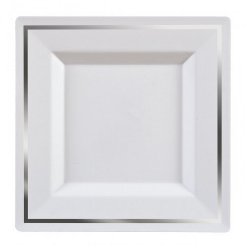 5 assiettes carrée bordée argent 24cm - fetez-moi