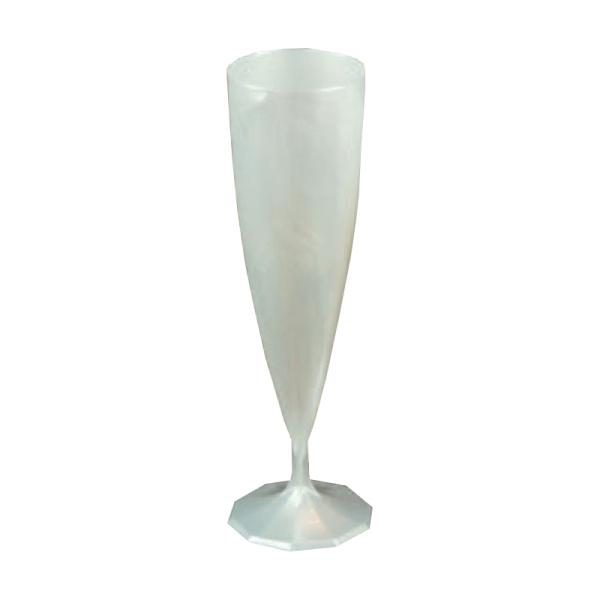 10 flûtes à champagne en plastique rigide monobloc blanc nacré 13 cl