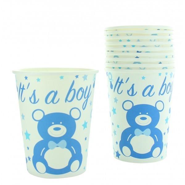 10 gobelets en carton baby shower boy
