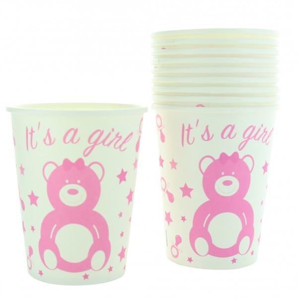 10 gobelets en carton baby shower girl
