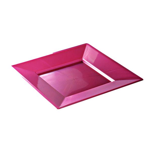 12 assiettes en plastique rigide carré pourpre étoile prestige 18 cm
