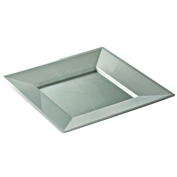 12 assiettes en plastique rigide carré argent prestige 24 cm