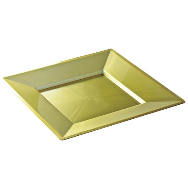 12 assiettes en plastique rigide carré or prestige 24 cm