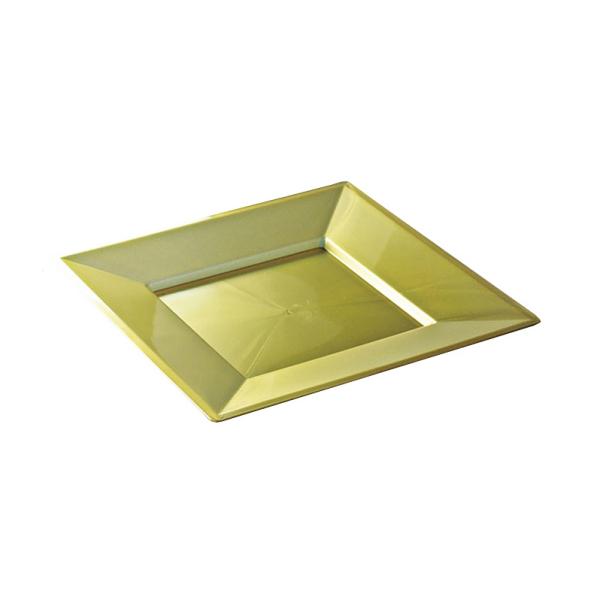 12 assiettes en plastique rigide carré or prestige 18 cm