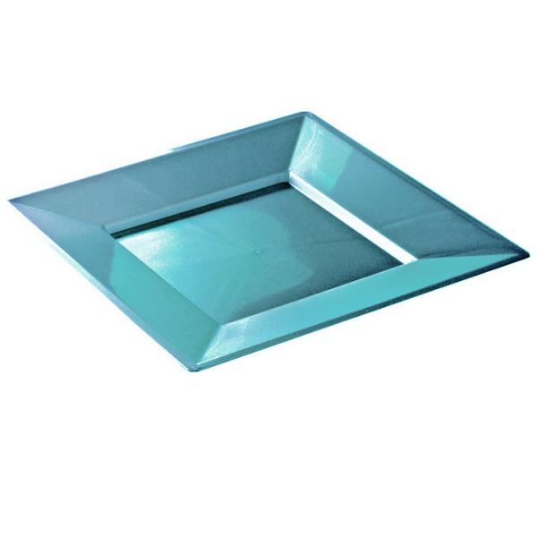 12 assiettes en plastique rigidee carré turquoise prestige 24 cm