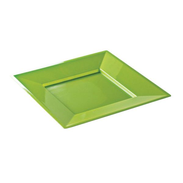 12 assiettes en plastique rigide carré anis prestige 24 cm