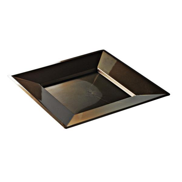 12 assiettes en plastique rigide carré chocolat prestige 24 cm