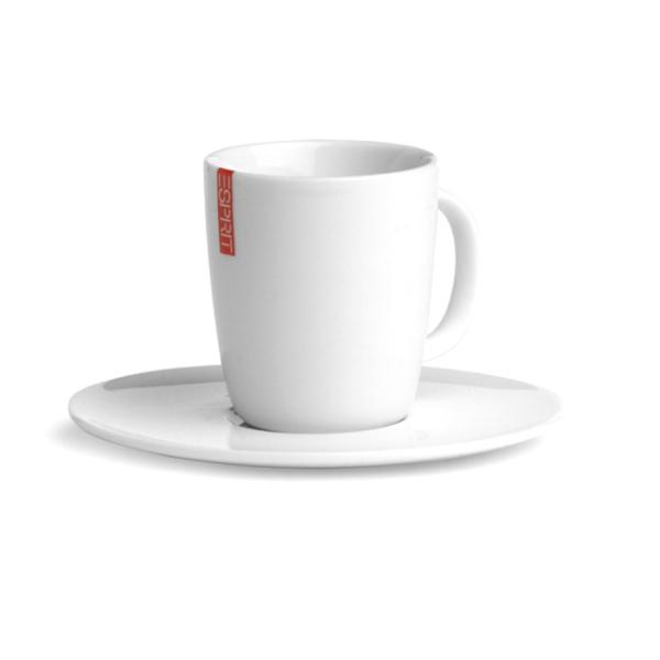 2 tasses espresso avec soucoupe en porcelaine blanche