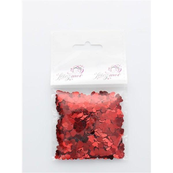 confettis en coeur rouge - 18 gr
