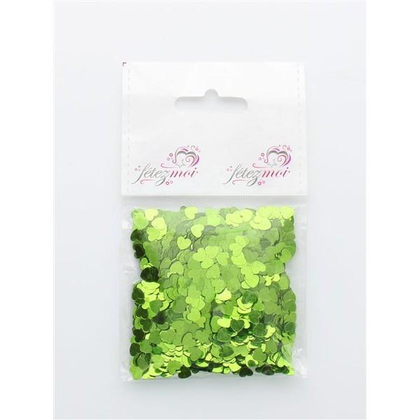 confettis en coeur vert - 18 gr