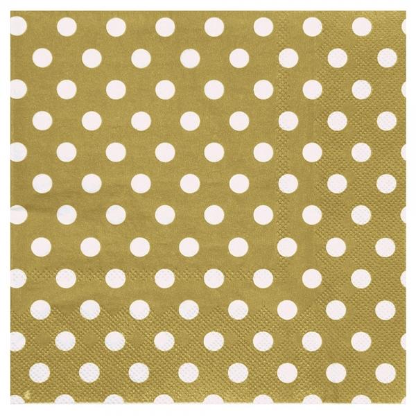 20 serviettes motif à pois - or