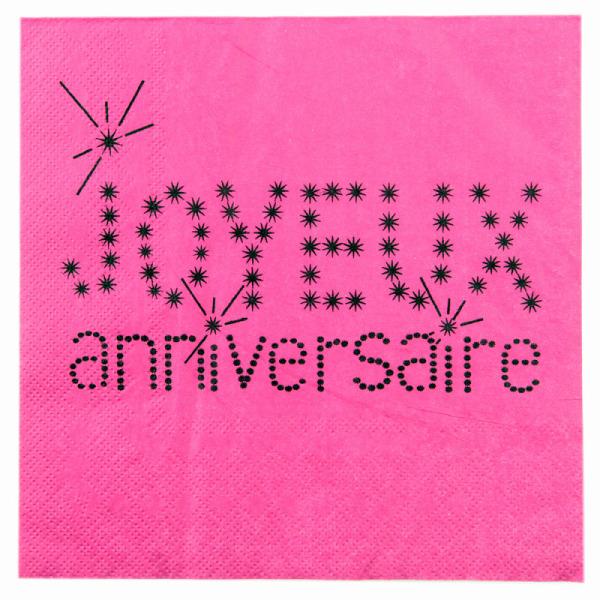 20 serviettes de table joyeux anniversaire en papier - fuchsia