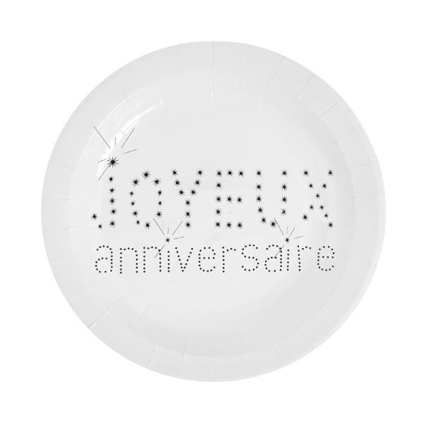 10 assiettes joyeux anniversaire en carton - blanc
