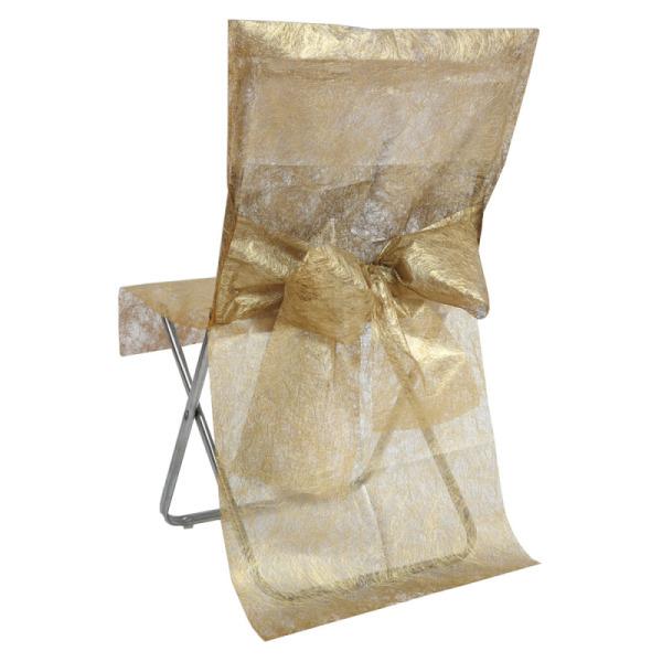 2 housses de chaise fanon métallisé avec noeud - or