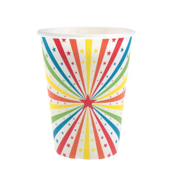 10 gobelets cirque en carton - multicolore