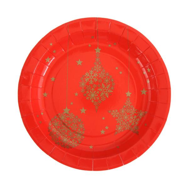 10 assiettes flocon en carton - rouge