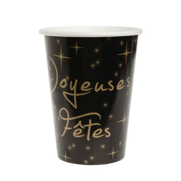 10 gobelets joyeuses fêtes en carton - noir