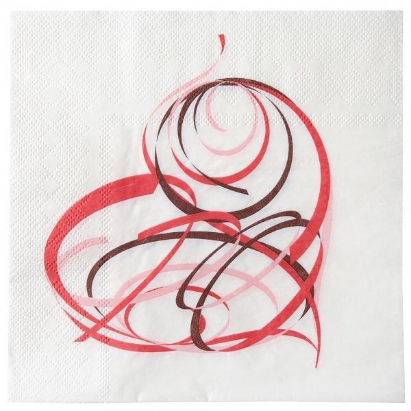 10 serviettes de table saint valentin - blanc