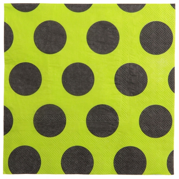 10 serviettes de table à gros pois - vert